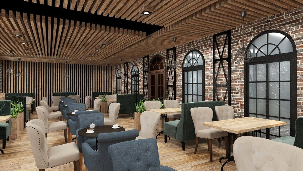 Design project of the restaurant in the loft style